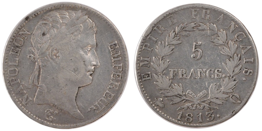 World Coins - FRANCE, Napoléon I, 5 Francs, 1813, Perpignan, KM #694.12, , Silver, G.