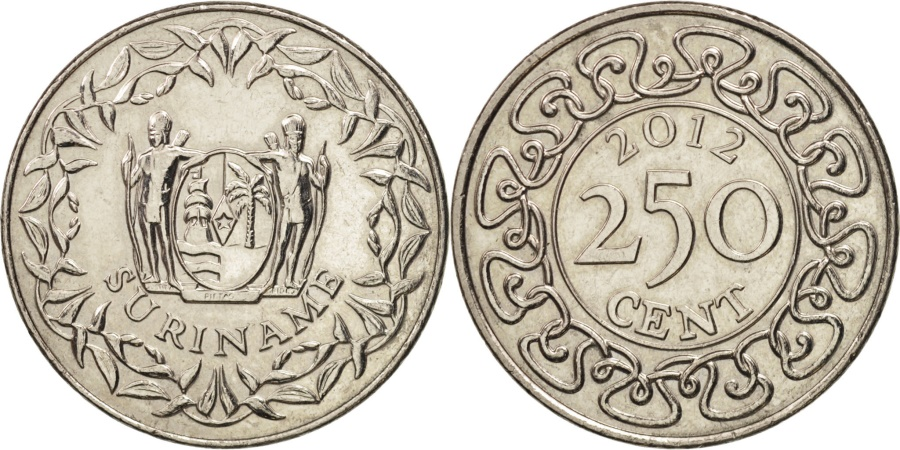 World Coins - Suriname, 250 Cents, 2012, , Nickel plated steel
