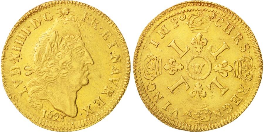 World Coins - France, Louis XIV, Louis d'or aux 4 L, 1693, Lille, , Gold, KM 302.20