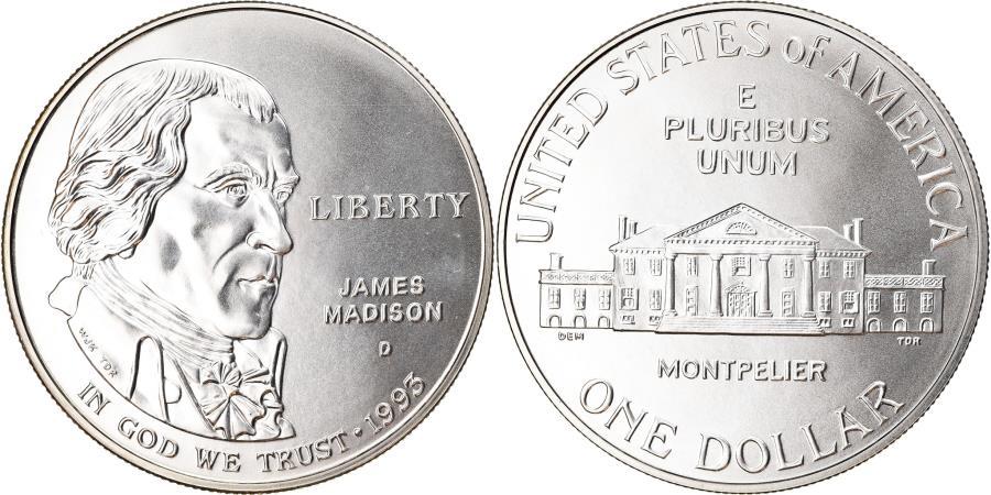 US Coins - Coin, United States, James Madison, Dollar, 1993, U.S. Mint, Denver,