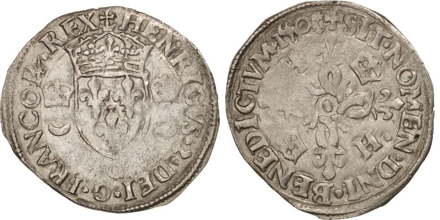 World Coins - France, Douzain aux croissants, 1550, Poitiers, , Billon, Sombart:4380