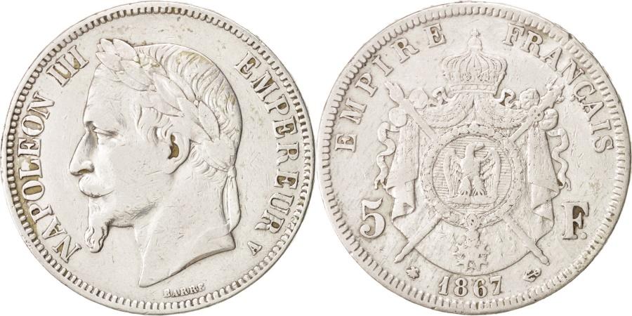 World Coins - France, Napoleon III, Napoléon III, 5 Francs, 1867, Paris, , Silver...