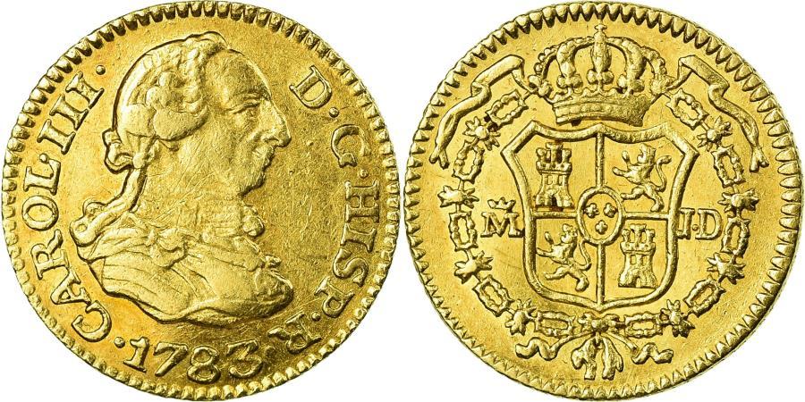 World Coins - Coin, Spain, Charles III, 1/2 Escudo, 1783, Madrid, AU(50-53), Gold, KM:415.1