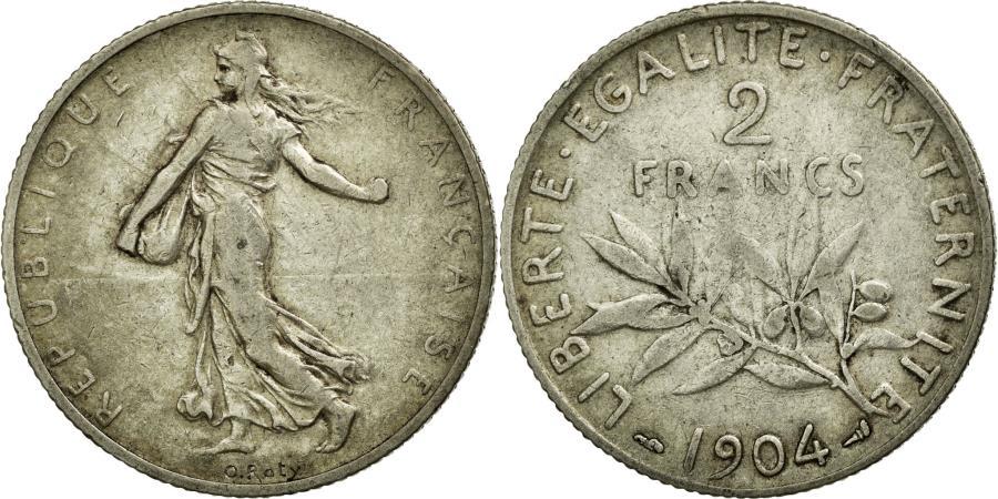 World Coins - Coin, France, Semeuse, 2 Francs, 1904, VF(30-35), Silver, Gadoury:532