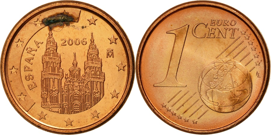 spain euro cent 2006 copper plated steel km 1040. Black Bedroom Furniture Sets. Home Design Ideas