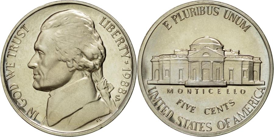 US Coins - Coin, United States, Jefferson Nickel, 5 Cents, 1988, U.S. Mint, San Francisco