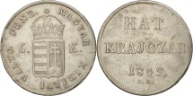 World Coins - Hungary, Franz Joseph I, Hat (6) Krajczar, 1849, Nagybanya, AU(55-58), Silver