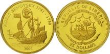 Liberia, 25 Dollars, 2005, Moric Benovsky, MS(65-70), Gold