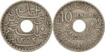 World Coins - Tunisia, Ahmad Pasha Bey, 10 Centimes, 1933, Paris, EF(40-45), Nickel-Bronze