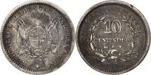 World Coins - Uruguay, 10 Centesimos, 1877, Uruguay Mint, Paris, Berlin, Vienna, EF(40-45)