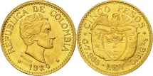 World Coins - Colombia, 5 Pesos, 1924, MS(60-62), Gold, KM:204