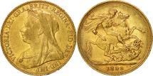 World Coins - Australia, Victoria, Sovereign, 1899, Melbourne, EF(40-45), Gold, KM:13
