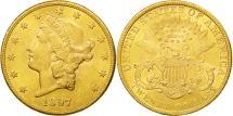 Us Coins - United States,Liberty Head,$20,Double Eagle,1897,Philadelphia,AU(50-53),KM 74.3