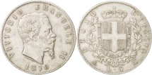 Italy, Vittorio Emanuele II, 5 Lire, 1870, Milan, EF(40-45), Silver, KM:8.3