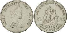 World Coins - East Caribbean States, Elizabeth II, 25 Cents, 1981, AU(50-53), Copper-nickel
