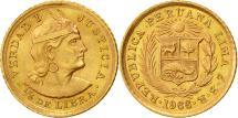 World Coins - Coin, Peru, 1/5 Libra, Pound, 1966, Lima, MS(63), Gold, KM:210