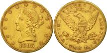 Us Coins - United States, Coronet Head, $10, 1905, San Francisco, EF540-45), Gold, KM:102