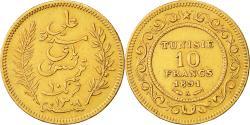 World Coins - Coin, Tunisia, Ali Bey, 10 Francs, 1891, Paris, EF(40-45), Gold, KM:226