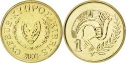 World Coins - CYPRUS, Cent, 2003, KM #53.3, , Nickel-Brass, 16.5, 1.99