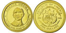 World Coins - Coin, Liberia, 5 Dollars, 2009, Barack Obama, , Gold, KM:New