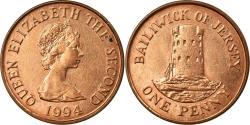 World Coins - Coin, Jersey, Elizabeth II, Penny, 1994, , Copper Plated  Steel, KM:54b
