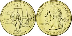 Us Coins - Coin, United States, Illinois, Quarter, 2003, U.S. Mint, , Gold plated