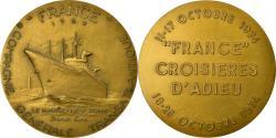 World Coins - France, Medal, Compagnie Transatlantique, Croisières d'Adieu du France