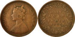 World Coins - Coin, INDIA-BRITISH, Victoria, 1/2 Anna, 1875, , Copper, KM:468
