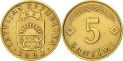 World Coins - Latvia, 5 Santimi, 1992, , Nickel-brass, KM:16