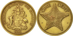World Coins - Bahamas, Elizabeth II, Cent, 1974, Franklin Mint, , Brass, KM:59