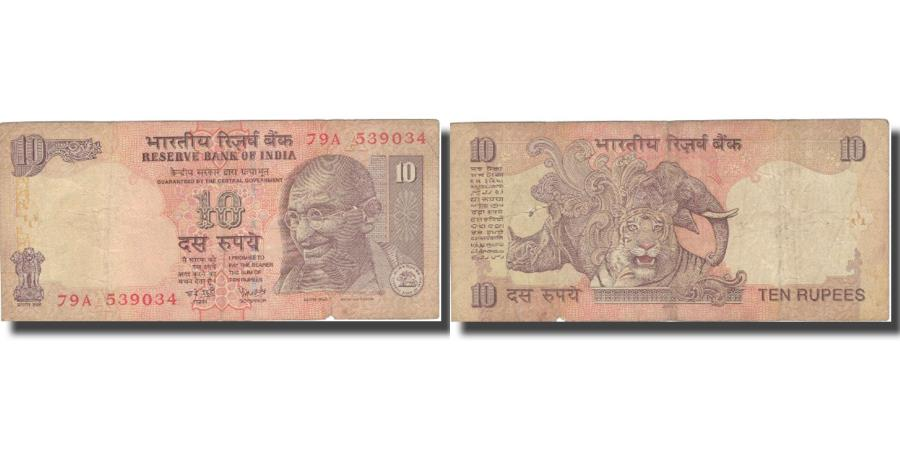 World Coins - Banknote, India, 10 Rupees, 1996, 1996, KM:89c, VF(30-35)