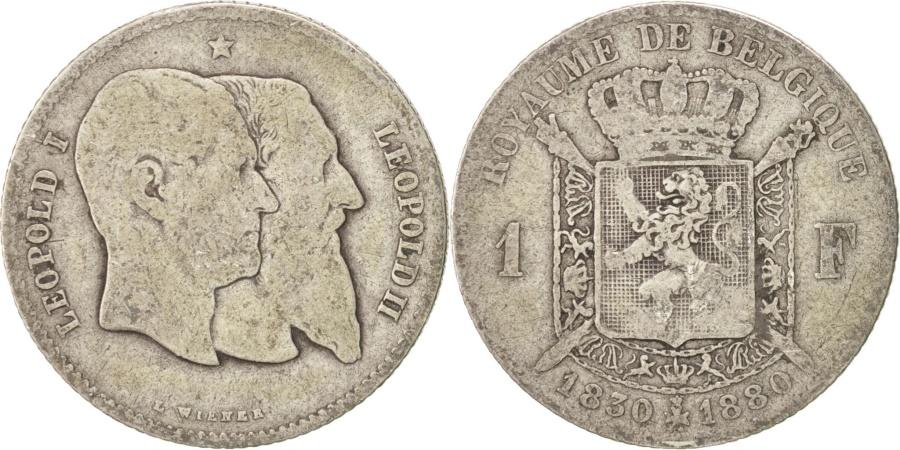 World Coins - Belgium, Leopold II, Franc, 1880, , Silver, KM:38