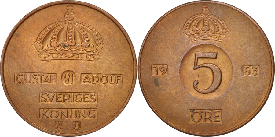 World Coins - Sweden, Gustaf VI, 5 Öre, 1963, , Bronze, KM:822