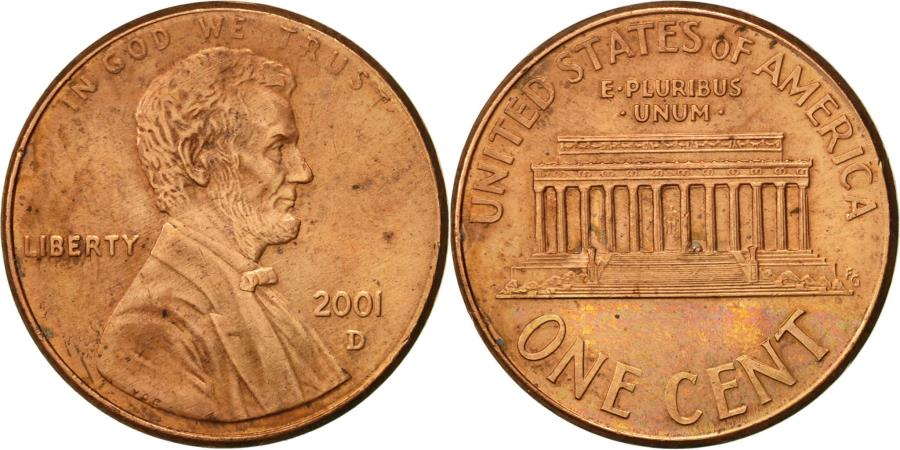 US Coins - United States, Lincoln Cent, Cent, 2001, U.S. Mint, Denver, , Copper