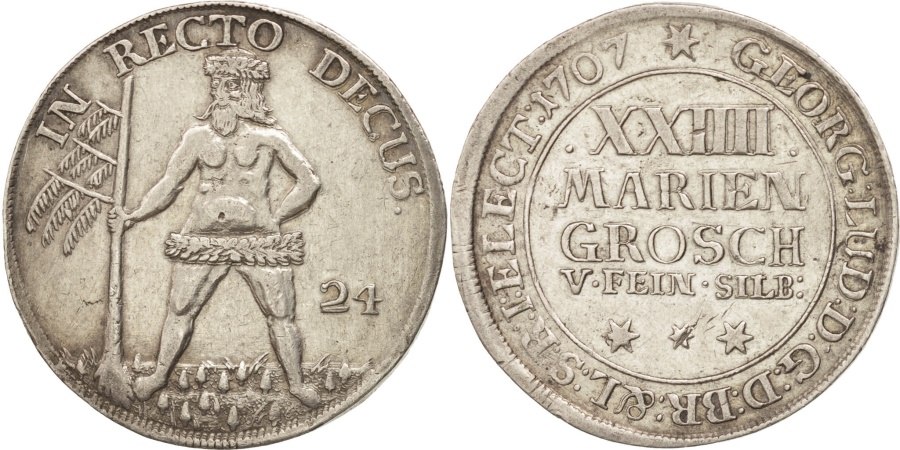 World Coins - German States, BRUNSWICK-WOLFENBUTTEL, Anton Ulrich, 24 Mariengroschen