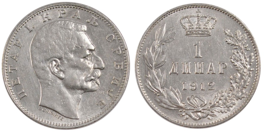 World Coins - SERBIA, Dinar, 1912, KM #25.1, , Silver, 22.5, 5.00