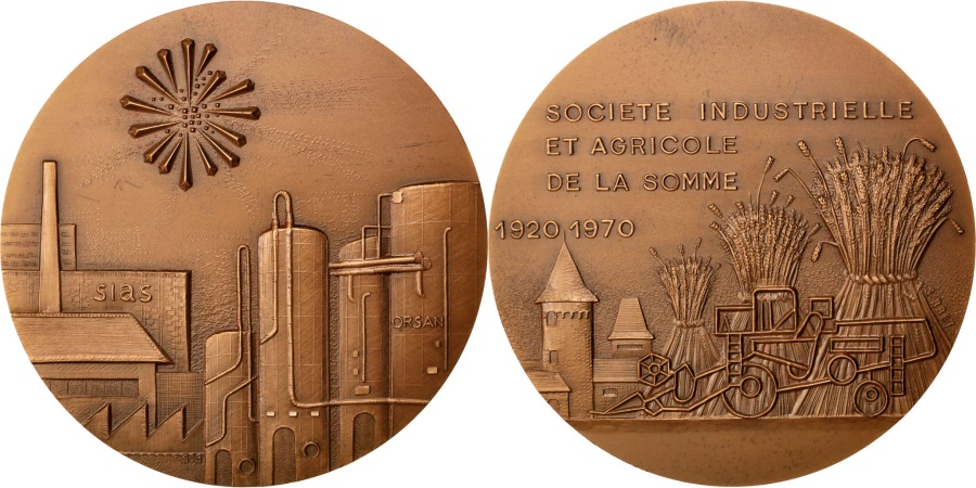 World Coins - FRANCE, Business & industry, French Fifth Republic, Medal, 1970, ,...