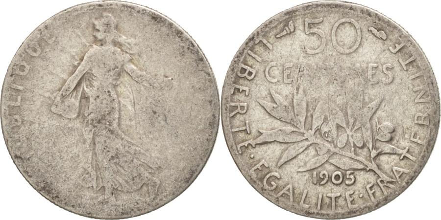 World Coins - France, Semeuse, 50 Centimes, 1905, Paris, , Silver, KM:854, Gadoury:420