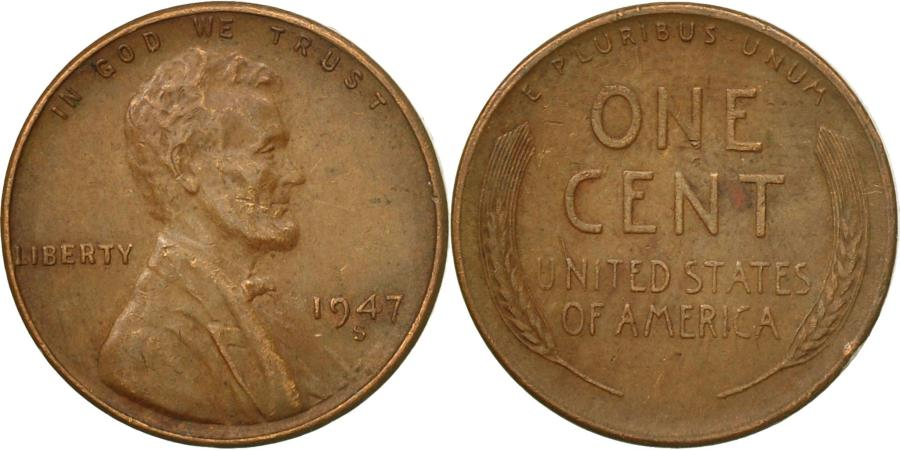 US Coins - Coin, United States, Lincoln Cent, Cent, 1947, U.S. Mint, San Francisco