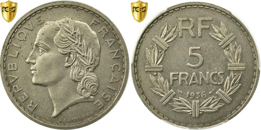 World Coins - Coin, France, Lavrillier, 5 Francs, 1936, Paris, PCGS, AU58, Nickel, KM:888