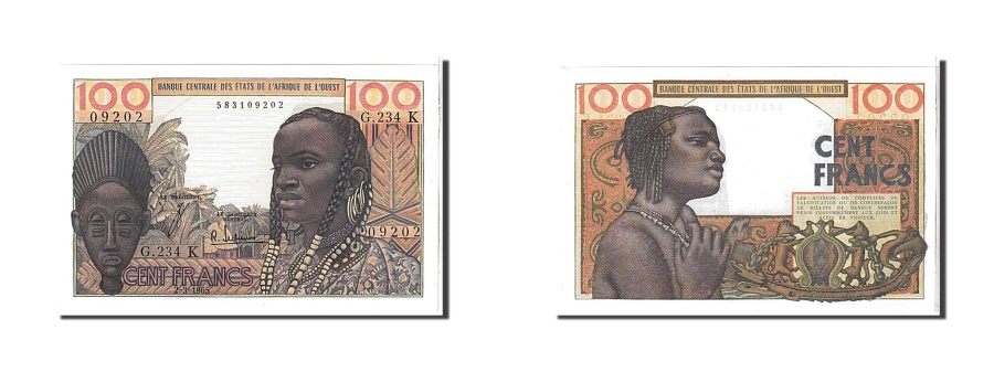 World Coins - West African States, 100 Francs, 1965, KM #101Ae, UNC(65-70), G234K09202