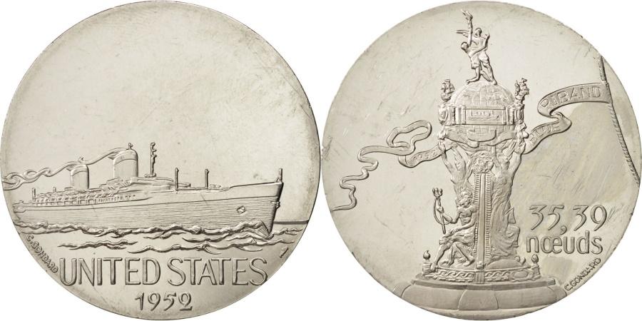 World Coins - France, Medal, Les Grands Transatlantiques, United States