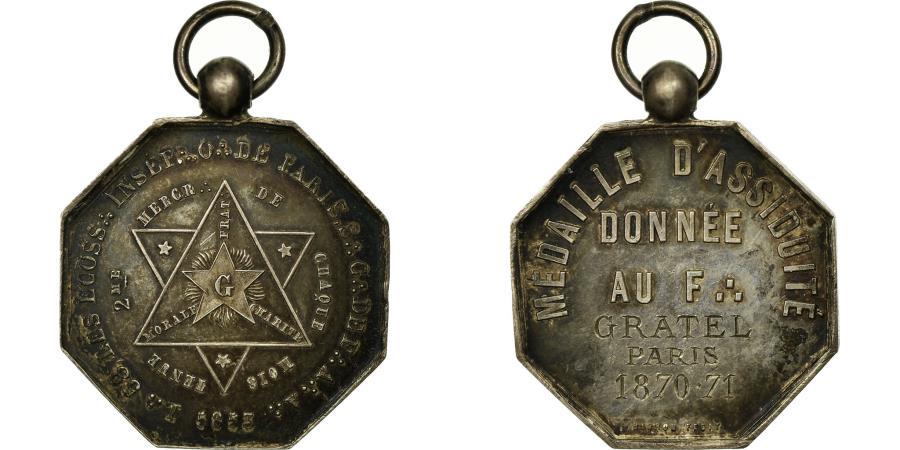 France, Medal, Masonic, Les Ecossais Inséparables, 1853, AU(55-58), Silver