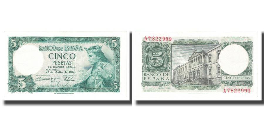 Banknote, Spain, 5 Pesetas, 1954, 1954-07-22, KM:146a, UNC(63)
