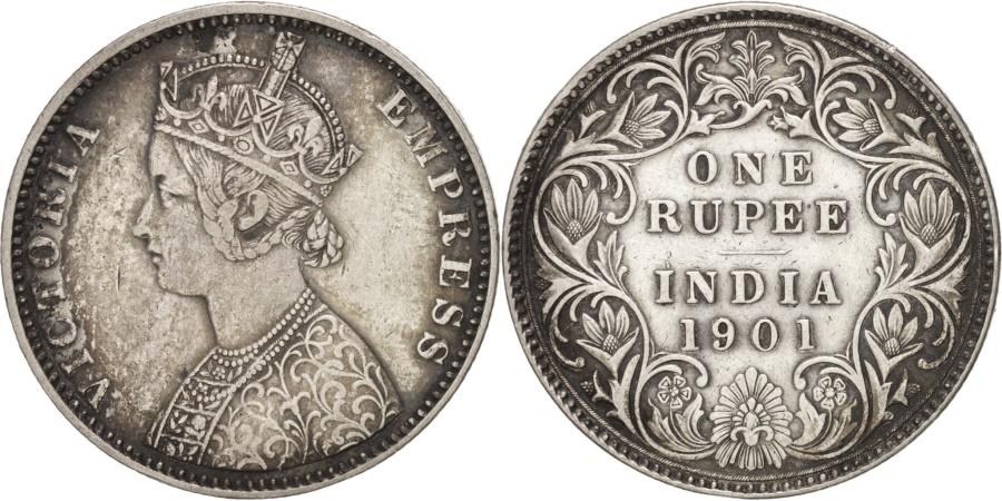 World Coins - INDIA-BRITISH, Victoria, Rupee, 1901, Bombay, Silver, KM:492
