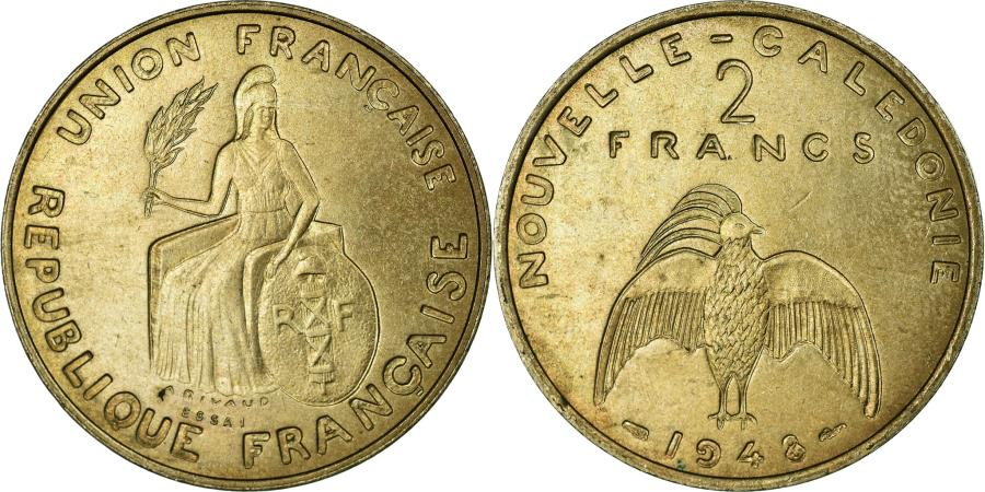 World Coins - Coin, New Caledonia, 2 Francs, 1948, Paris, MS(65-70), Nickel-Bronze