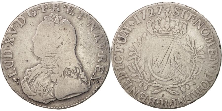 World Coins - France, Louis XV, Écu aux branches d'olivier, 1727, Rouen, , KM:486.3
