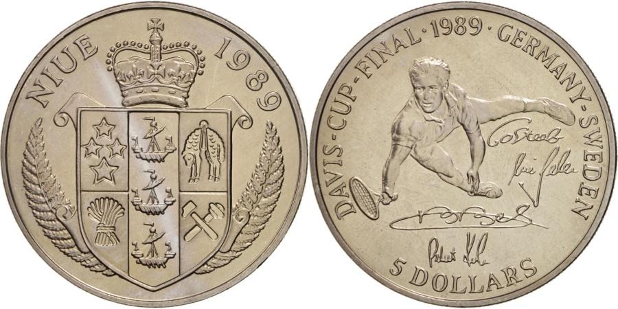 World Coins - NIUE, 5 Dollars, 1989, KM #24, , Copper-Nickel, 28.40