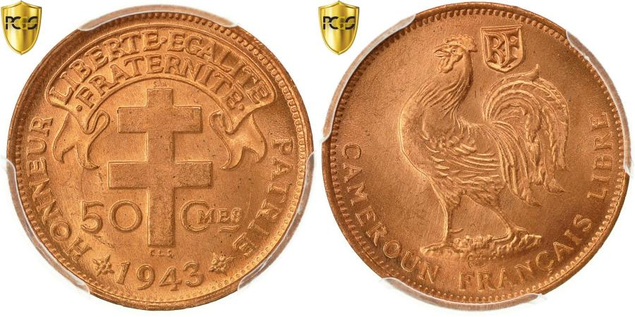 World Coins - Coin, Cameroon, 50 Centimes, 1943, Pretoria, PCGS, MS66RD, , Bronze