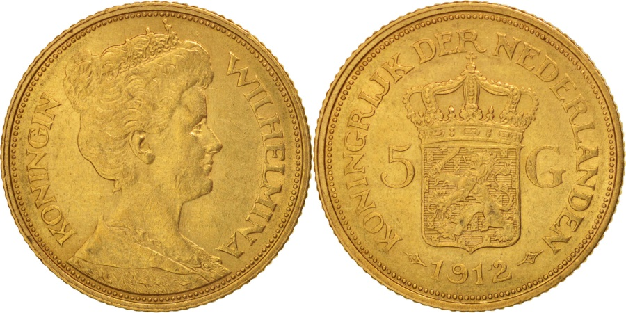 World Coins - Netherlands, Wilhelmina I, 5 Gulden, 1912, Gold, KM:151